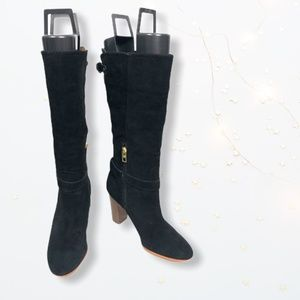 Black Suede Coach Beverly Heeled Boots Sz 6.5B